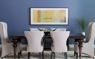 Синие обои в интерьере гостиной