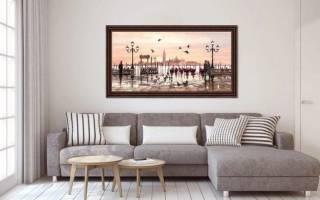 Современные картины в интерьере гостиной
