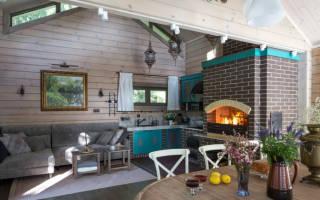 Кухня гостиная в загородном доме интерьер