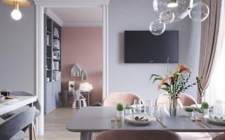 Розово серый интерьер гостиной