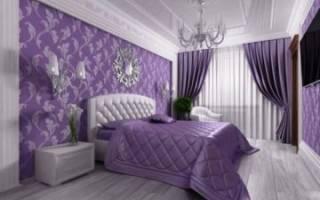 Дизайн сиреневых штор в спальню