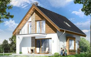 Одноэтажный дом с двухскатной крышей