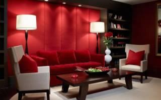 Красно белый интерьер гостиной