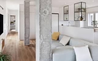 Дизайн комнаты с колонной