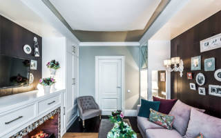 Дизайн комнаты спальни с диваном