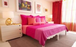 Дизайн розово серой спальни