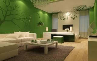 Сочетание зеленого цвета в интерьере гостиной