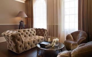 Сочетание коричневого в интерьере гостиной