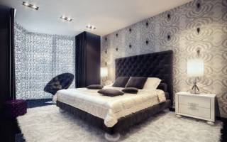Дизайн серо белой спальни