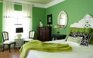 Дизайн зеленой спальни