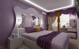 Дизайн лиловой спальни