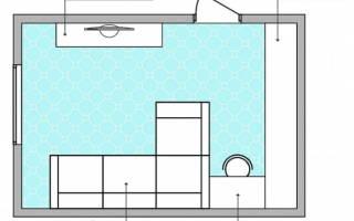 Дизайн маленькой комнаты с диваном и шкафом