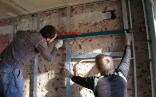 Крепление гипсокартона к стене на деревянный каркас