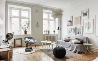Скандинавский стиль в интерьере гостиной фото