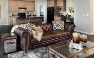 Коричневые диваны в интерьере гостиной