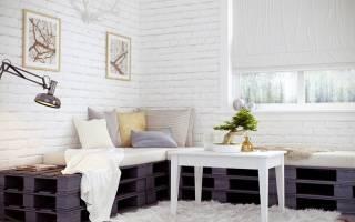 Дизайн комнаты с белым кирпичом