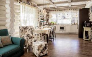 Кухня гостиная в стиле прованс фото интерьер