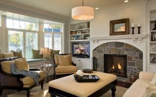 Дизайн комнаты с камином в доме