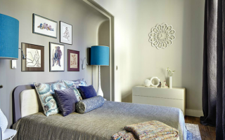 Дизайн над кроватью в спальне