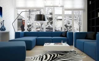 Синие диваны в интерьере гостиных