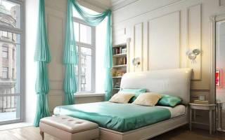 Мятные шторы в интерьере гостиной