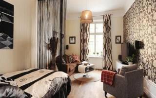 Гостиная спальня в одной комнате дизайн фото